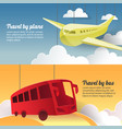 travel by plane and bus paper cut out banner vector image