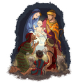 Nativity scene jesus mary joseph shepherds vector