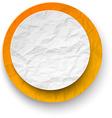 Wrinkled paper white-orange round note vector image