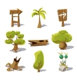 Cartoon nature elements objects on white vector image