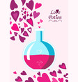 chemistry flask containing love potion in flat sty vector image