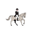 Equestrian Rider Dressage Cartoon vector image
