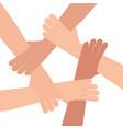 human hand connection teamwork vector image
