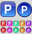parking icon sign A set of twelve vintage buttons vector image
