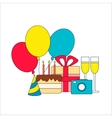 Set of birthday icon - cake gift champagne vector image