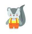 Skunk In Yellow Top And Orange Pants Cute Toy Baby vector image