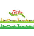 easter seamless border with rabbits grass and vector image