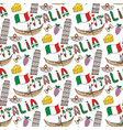 italy seamless pattern with flag and culture vector image