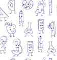 Hand drawn cute school characters on a sheet of vector image