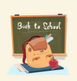back to school backpack over class board education vector image