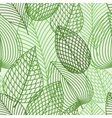 Seamless pattern of spring outline reen leaves vector image
