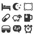 sleeping icons set on white background vector image