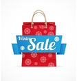 Christmas sale red paper bag on white vector image vector image