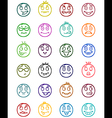 24 smiles icons set 9 vector image