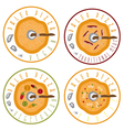 paleo pizza concept vintage labels set vector image vector image