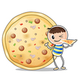 A boy beside a big pizza vector image