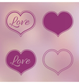 Collection of Pink Hearts on Blur Background vector image