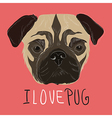 I love pug with hand drawn pug portrait vector image