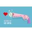 Love gun Valentines day Gun shoots at heart Good vector image