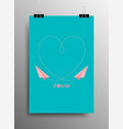 love heart paper airplane valentines day vector image