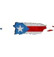 Puerto Rico map with flag inside vector image