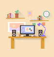 Workplace with modern computer on table vector image