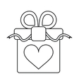 gift box with heart and bow outline vector image