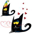 two variant of black cat cartoon party and vector image vector image