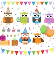 birthday party owls set vector image vector image