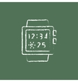 Smartwatch icon drawn in chalk vector image