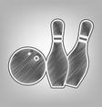 bowling sign pencil sketch vector image