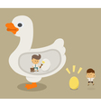 Businessman and golden goose vector image
