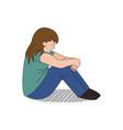 cartoon child depressed and bullied vector image
