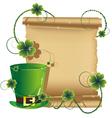 Green leprechaun hat and ancient manuscript vector image