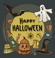 happy halloween hand drawn vector image