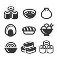 japanese sushi food icons set vector image