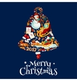 Christmas bell with New Year symbols poster design vector image
