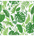 hand drawn tropical plants pattern vector image vector image