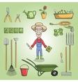 Happy gardener charactor set vector image