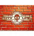 Brick wall with urban life sign vector image