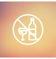 No alcohol sign thin line icon vector image