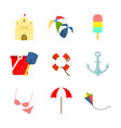 beach travelling related stuff set vector image