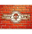 Brick wall with urban life sign vector image