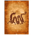 Chinese dragon on paper grunge vector image