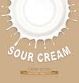 isolated splash of sour cream on a brown backgroun vector image