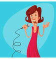 woman with microphone vector image