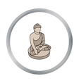 Sitting Buddha icon in cartoon style isolated on vector image