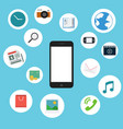 Flat mobile phone with entertainment icons vector image