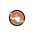 Delivery Man Okay Sign Parcel Circle Cartoon vector image