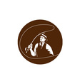 Mobster Gangster Fly Fisherman Circle Retro vector image vector image
